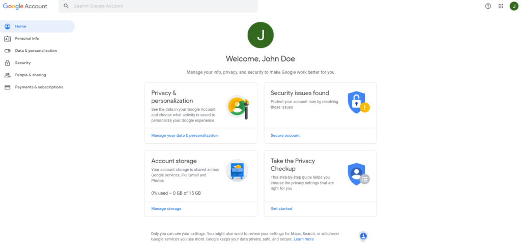Google account home