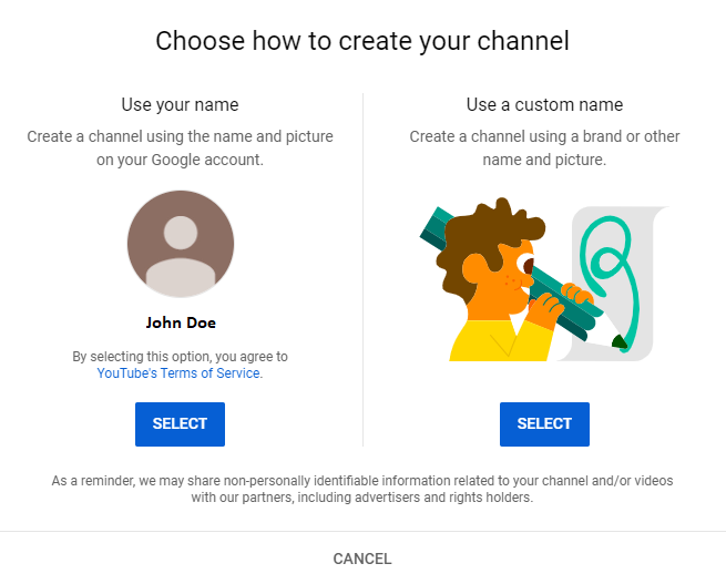 choose how to create your channel